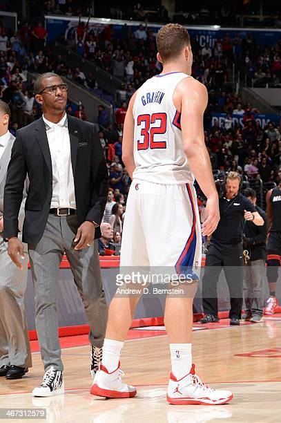 Chris Paul of the Los Angeles Clippers speaks to teammate Blake Griffin during the game against the Miami Heat at Staples Center on February 5 2014...
