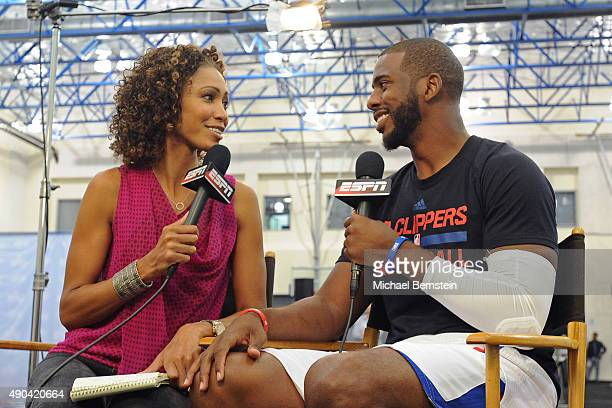 Chris Paul of the Los Angeles Clippers talks to Sage Steele of ESPN during media day at the Los Angeles Clippers Training Center on September 25 2015...