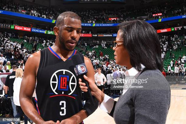 Chris Paul of the Los Angeles Clippers talks to the media after the game against the Utah Jazz during Game Six of the Western Conference...