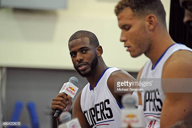 Chris Paul of the Los Angeles Clippers talks to the media during media day at the Los Angeles Clippers Training Center on September 25 2015 in Playa...