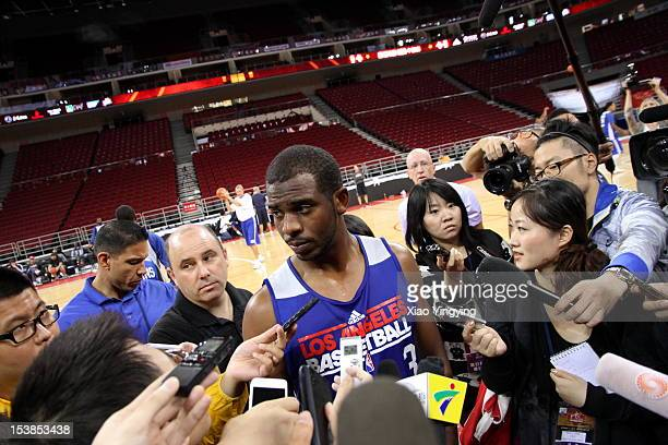 Chris Paul of the Los Angeles Clippers talks to the media during the practice at the MasterCard Center during the 2012 NBA China games on October 10...