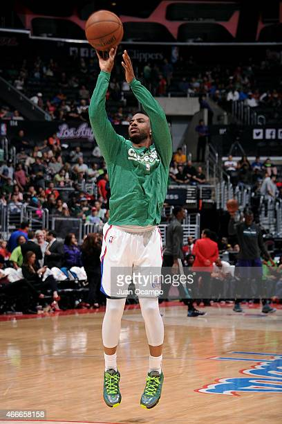Chris Paul of the Los Angeles Clippers warms up before a game against the Charlotte Hornets on March 17 2015 at Staples Center in Los Angeles...