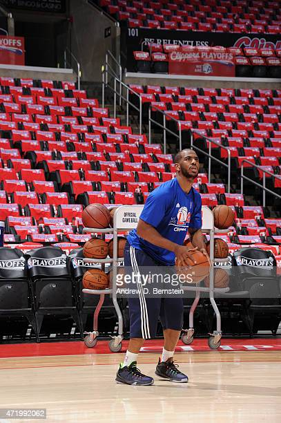 Chris Paul of the Los Angeles Clippers warms up before a game against the San Antonio Spurs in Game Seven of the Western Conference Quarterfinals...