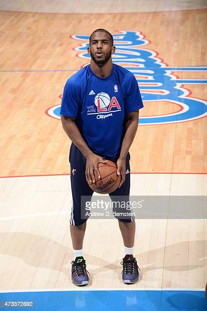 Chris Paul of the Los Angeles Clippers warms up before Game Six of the Western Conference Semifinals against the Houston Rockets during the 2015 NBA...