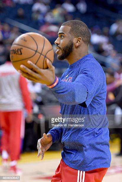 Chris Paul of the Los Angeles Clippers warms up prior to playing the Golden State Warriors at ORACLE Arena on March 8 2015 in Oakland California NOTE...