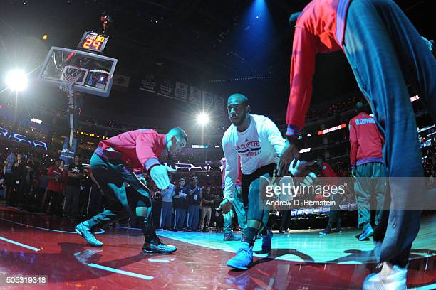 Chris Paul of the Los Angeles Clippers was introduced before the game against the Sacramento Kings on January 16 2016 at STAPLES Center in Los...