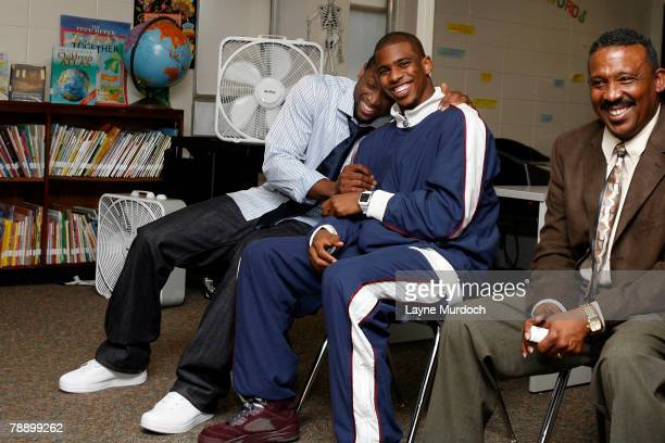 Chris Paul of the New Orleans Hornets and Dwyane Wade of the Miami Heat share a laugh as they team up to donate $5000 each for a family and community...