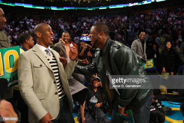 Chris Paul of the New Orleans Hornets and Dwyane Wade of the Miami Heat during the Sprite Slam Dunk Contest part of 2008 NBA AllStar Weekend at the...