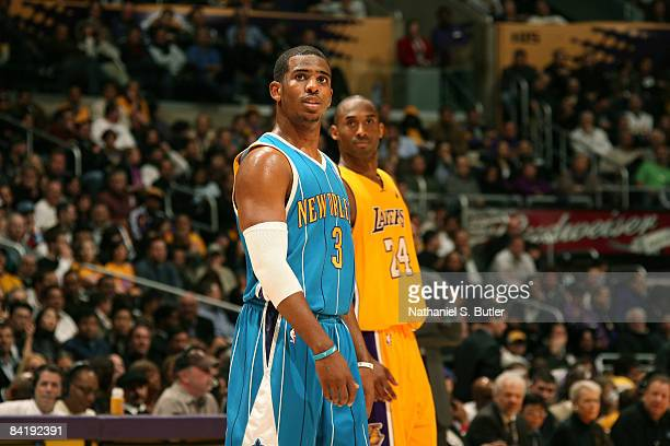 Chris Paul of the New Orleans Hornets and Kobe Bryant of the Los Angeles Lakers look on during their game at Staples Center on January 6 2009 in Los...