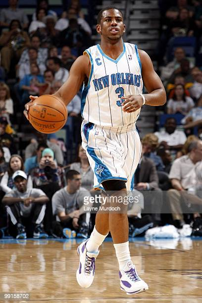 Chris Paul of the New Orleans Hornets dribbles against the Washington Wizards during the game at New Orleans Arena on March 31 2010 in New Orleans...