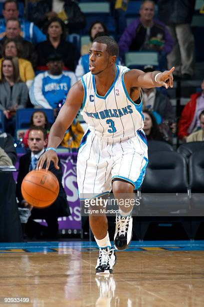 Chris Paul of the New Orleans Hornets drives against the Minnesota Timberwolves on December 4 2009 at the New Orleans Arena in New Orleans Louisiana...
