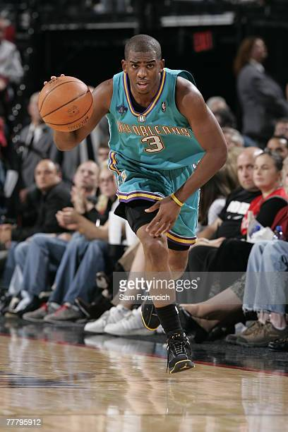 Chris Paul of the New Orleans Hornets drives down the court during a game against the Portland Trail Blazers on November 7 2007 at the Rose Garden...