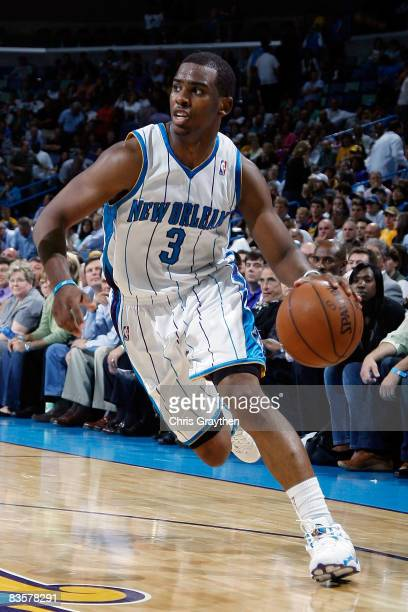 Chris Paul of the New Orleans Hornets drives the ball against the Atlanta Hawks at the New Orleans Arena on November 5 2008 in New Orleans Louisiana...
