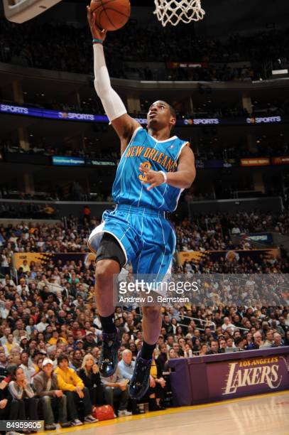 Chris Paul of the New Orleans Hornets goes up for a layup against the Los Angeles Lakers at Staples Center on February 20 2009 in Los Angeles...