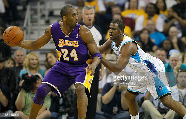 Chris Paul of the New Orleans Hornets guards Kobe Bryant of the Los Angeles Lakers in Game Four of the Western Conference Quarterfinals in the 2011...