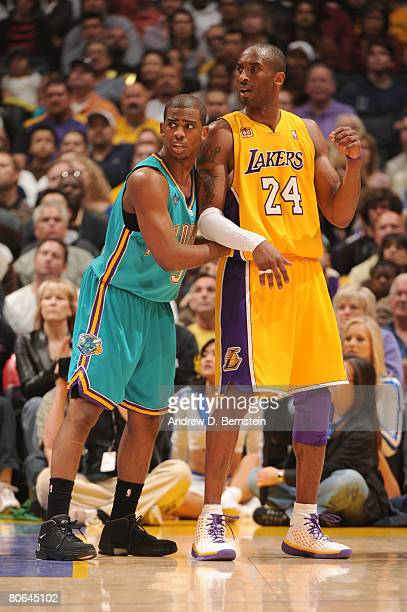 Chris Paul of the New Orleans Hornets guards Kobe Bryant of the Los Angeles Lakers during their game at Staples Center on April 11, 2008 in Los...