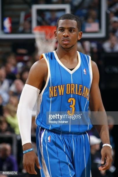 Chris Paul of the New Orleans Hornets looks on during the game against the Sacramento Kings at Arco Arena on March 31 2009 in Sacramento California...