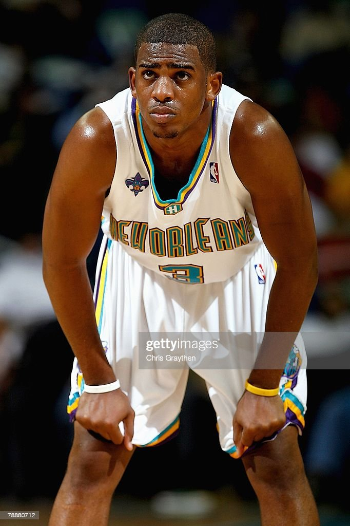Chris Paul of the New Orleans Hornets looks up during the ...