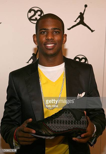 Chris Paul of the New Orleans Hornets on the red carpet at the Jordan Brand House of 23 event celebrating the launch of the Air Jordan 23 during...
