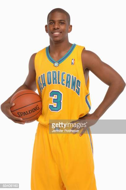 Chris Paul of the New Orleans Hornets poses during a portrait session with the 2005 NBA rookie class on August 10, 2005 in Tarrytown, New York. NOTE...