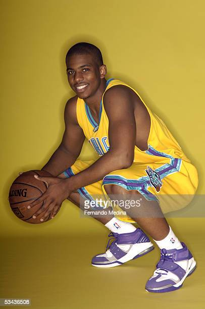 Chris Paul of the New Orleans Hornets poses during a portrait session with the 2005 NBA rookie class on August 10, 2005 at the MSG Training Facility...