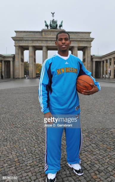 Chris Paul of the New Orleans Hornets poses for a photo during the 2008 NBA Europe Live Tour on October 14, 2008 at the Brandenburg Gate in Berlin,...