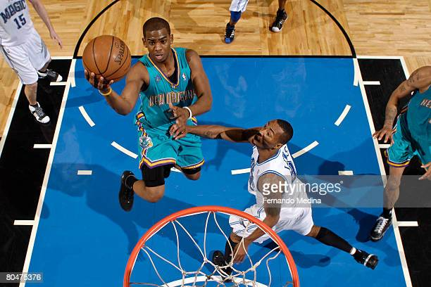 Chris Paul of the New Orleans Hornets shoots against the Orlando Magic at Amway Arena on April 1 2008 in Orlando Florida NOTE TO USER User expressly...