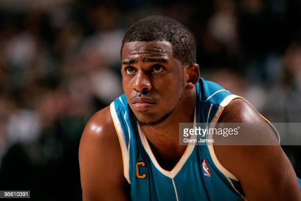 Chris Paul of the New Orleans Hornets takes a break from the action during the game against the Dallas Mavericks on December 14, 2009 at American...