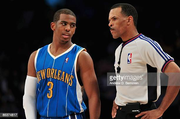 Chris Paul of the New Orleans Hornets talks to referee Eric Lewis during the game against the Los Angeles Lakers on February 20 2009 at Staples...