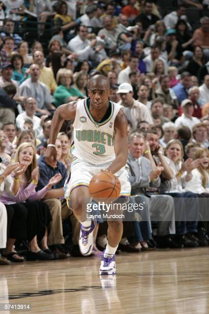 Chris Paul of the New Orleans/Oklahoma City Hornets dribbles against the Memphis Grizzlies on March 31 2006 at the Ford Center in Oklahoma City...