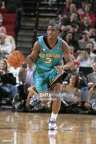 Chris Paul of the New Orleans/Oklahoma City Hornets dribbles the ball against the Portland Trail Blazers on February 26 2006 at the Rose Garden Arena...