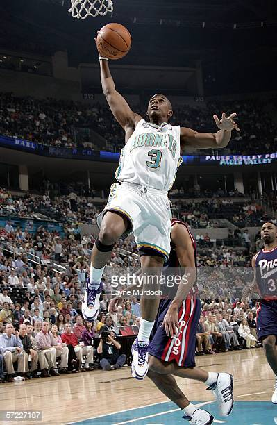 Chris Paul of the New Orleans/Oklahoma City Hornets grabs a rebound from the Memphis Grizzlies during a game on March 31 2006 at the Ford Center in...