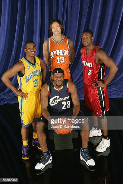 Chris Paul of the New Orleans/Oklahoma City Hornets LeBron James of the Cleveland Cavaliers Steve Nash of the Phoenix Suns and Dwyane Wade of the...