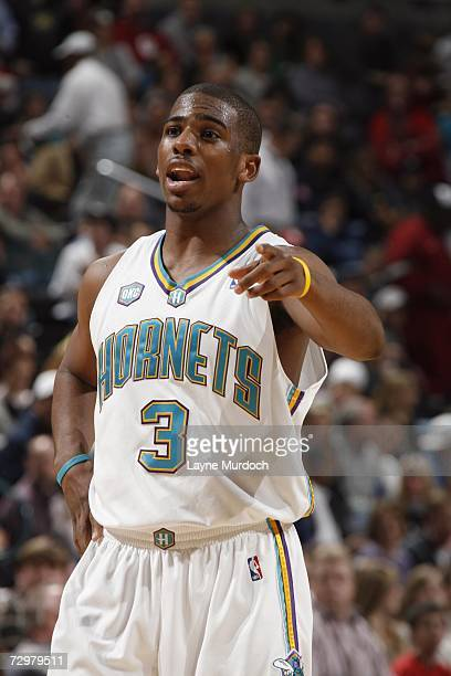 69423190eff6 Chris Paul of the New Orleans Oklahoma City Hornets points during a game  against the