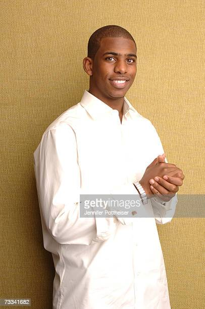 Chris Paul of the New Orleans/Oklahoma City Hornets poses for a portrait during All Star Media Availability on February 15 2007 at the Palms Resort...