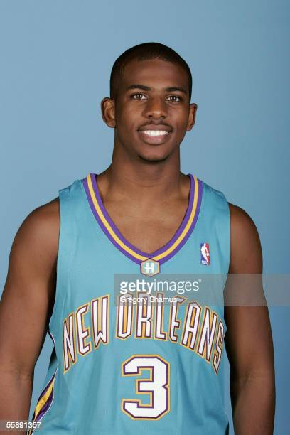 Chris Paul of the New Orleans/Oklahoma City Hornets poses for a portrait during NBA Media day at Ford Center on October 3 2005 in Oklahoma City...
