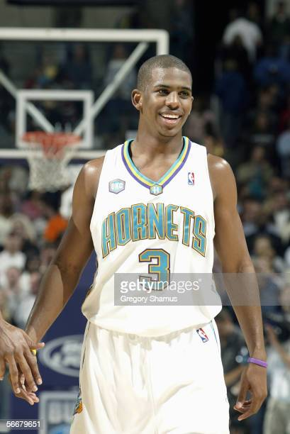 Chris Paul of the New Orleans/Oklahoma City Hornets stands on the court during the game with the Miami Heat on January 4, 2006 at the Ford Center in...