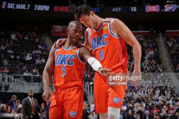 Chris Paul of the Oklahoma City Thunder and Danilo Gallinari of the Oklahoma City Thunder talk during the game against the Detroit Pistons on March...