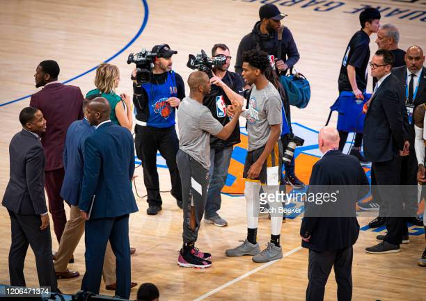 Chris Paul of the Oklahoma City Thunder and Shai GilgeousAlexander of the Oklahoma City Thunder high five after the game against the New York Knicks...