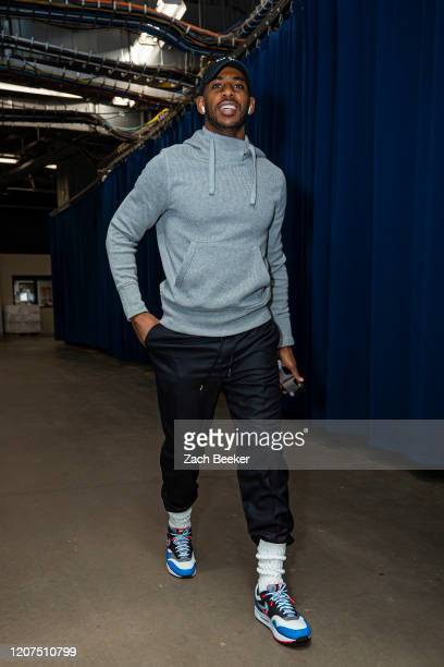 Chris Paul of the Oklahoma City Thunder arrives to the arena before the game against the Utah Jazz on February 21 2020 at Chesapeake Energy Arena in...