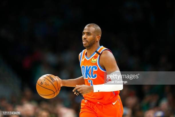 Chris Paul of the Oklahoma City Thunder brings the ball up court during the second quarter of the game against the Boston Celtics at TD Garden on...