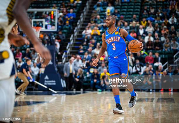 Chris Paul of the Oklahoma City Thunder dribbles up court against the Indiana Pacers on November 12 2019 at Chesapeake Energy Arena in Oklahoma City...