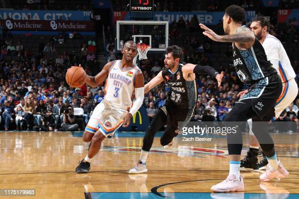 Chris Paul of the Oklahoma City Thunder drives to the basket against the New Zealand Breakers during the preseason on October 10 2019 at Chesapeake...