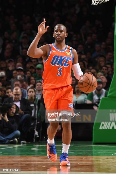 Chris Paul of the Oklahoma City Thunder handles the ball against the Boston Celtics on March 8 2020 at the TD Garden in Boston Massachusetts NOTE TO...
