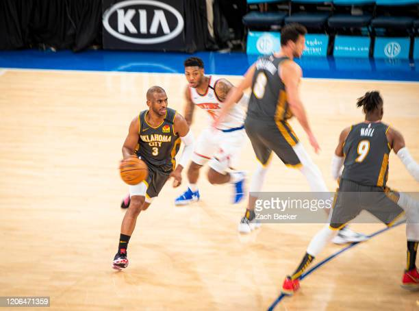 Chris Paul of the Oklahoma City Thunder handles the ball during the game against the New York Knicks on March 6 2020 at Chesapeake Energy Arena in...