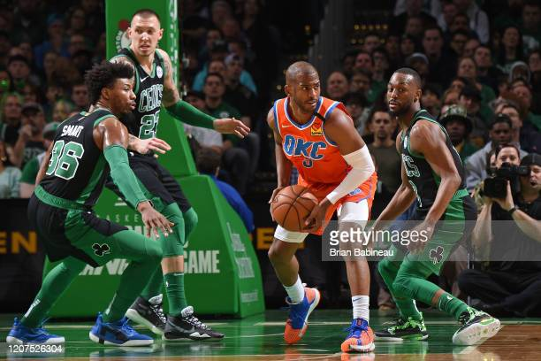 Chris Paul of the Oklahoma City Thunder handles the ball during the game against the Boston Celtics on March 8 2020 at the TD Garden in Boston...
