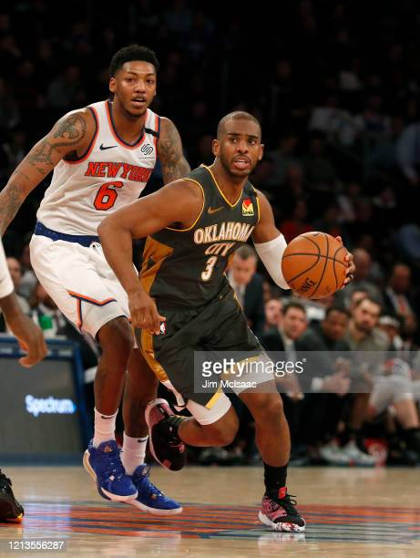 Chris Paul of the Oklahoma City Thunder in action against Elfrid Payton of the New York Knicks at Madison Square Garden on March 06 2020 in New York...