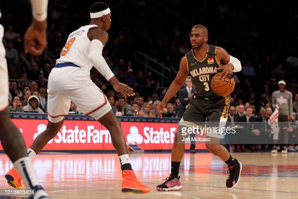 Chris Paul of the Oklahoma City Thunder in action against RJ Barrett of the New York Knicks at Madison Square Garden on March 06 2020 in New York...