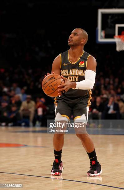 Chris Paul of the Oklahoma City Thunder in action against the New York Knicks at Madison Square Garden on March 06 2020 in New York City The Thunder...