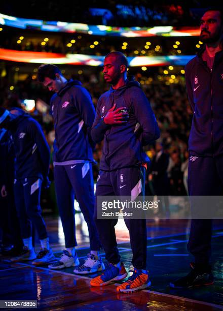 Chris Paul of the Oklahoma City Thunder listens to the national anthem before the game against the Boston Celtics on March 8 2020 at the TD Garden in...